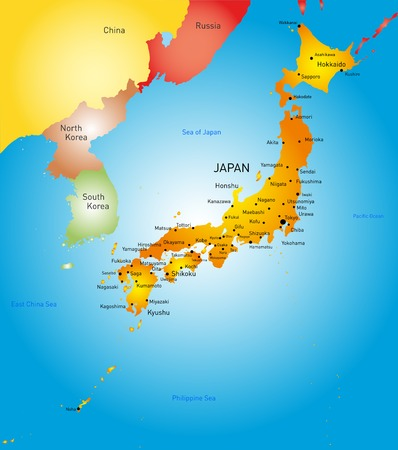 Vector detailed color map of Japan country 向量圖像