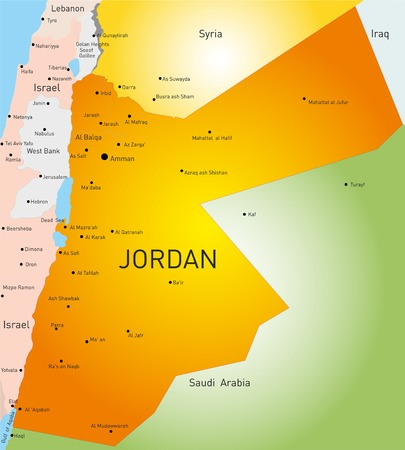 detailed vector color map of Jordan country