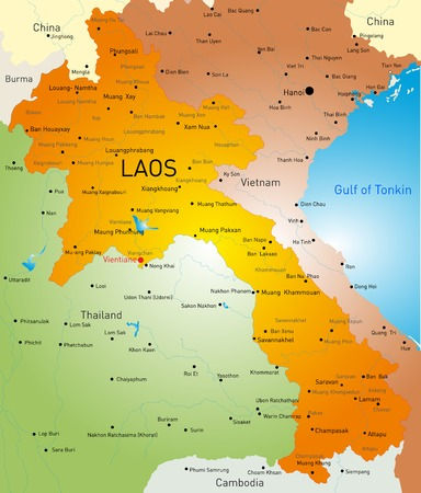 Vector detailed map of Laos country Vector