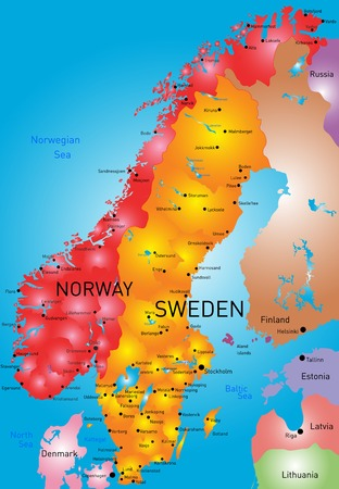 vector color map of Norway and Sweden country Vector