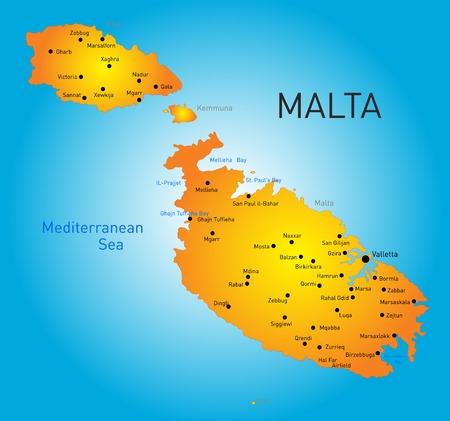malta: kleur kaart van Malta land