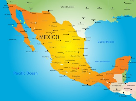 Abstract color map of Mexico country Vector