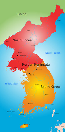 color map of Koreas countries Vector