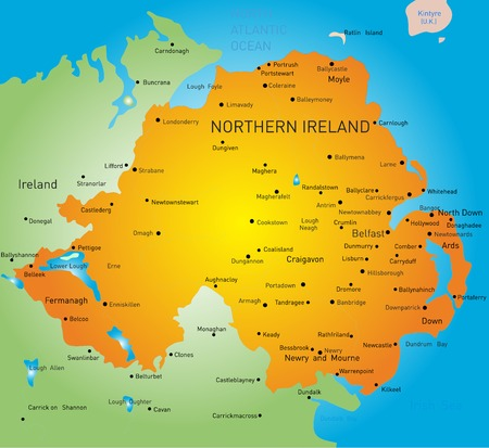 Abstract color map of Northern Ireland country Illustration