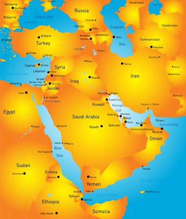 vector color map of Middle East country Vector