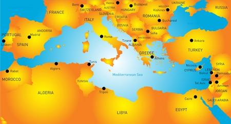 kaart van Middellandse-Zeegebied landen Stock Illustratie