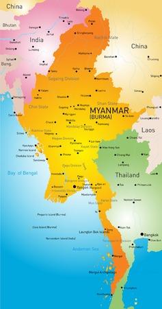 kaart van Myanmar land