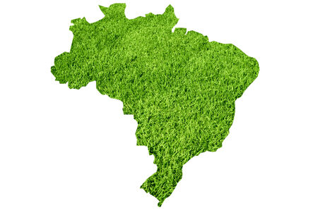 Map of of Brasil by green grass texture photo