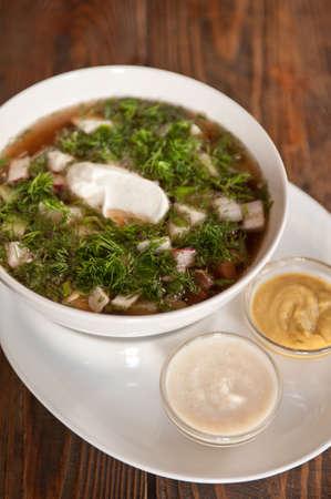okroshka: Traditional Russian kvass soup with vegetables - okroshka Stock Photo