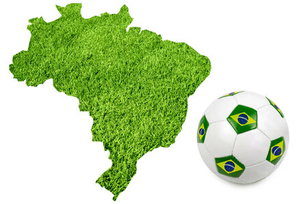 Map and Soccer ball of Brasil country photo
