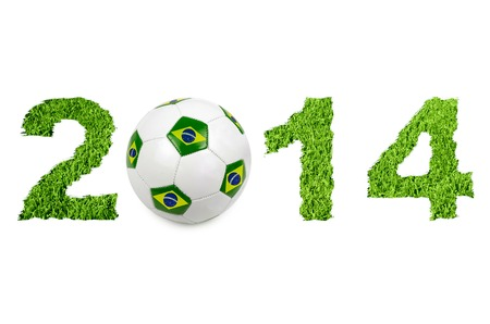 2014 text with soccer ball on white photo