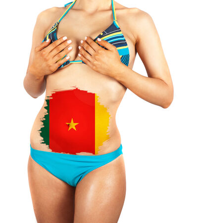 cameroonian: Beautiful female closeup with cameroonian flag Stock Photo