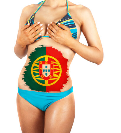 Beautiful female closeup with portugal flag photo