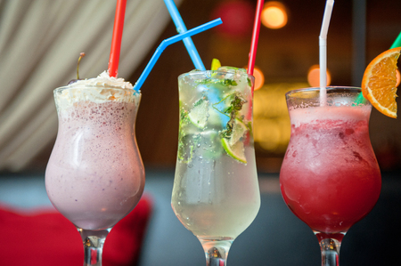 nonalcoholic: Set of three healthy nonalcoholic cocktails berries and classic mohito