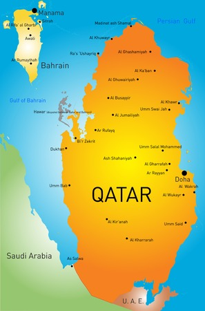 ar: color map of Qatar country Illustration