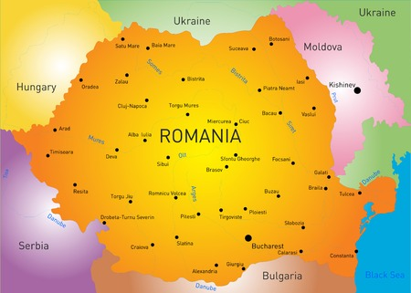 Color Map Of Romania Country Royalty Free Cliparts Vectors And - Romania in us map