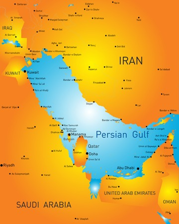 color map of Persian gulf countries Vector