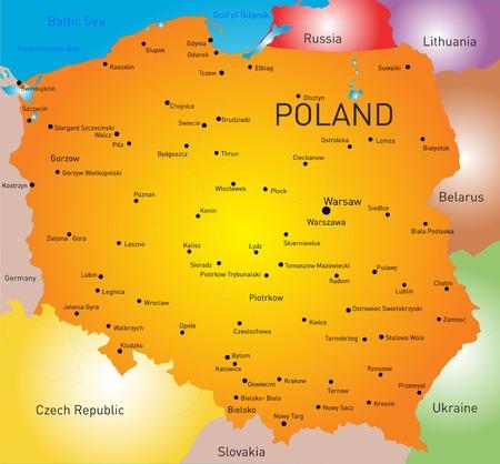 kolor mapa kraju Polska