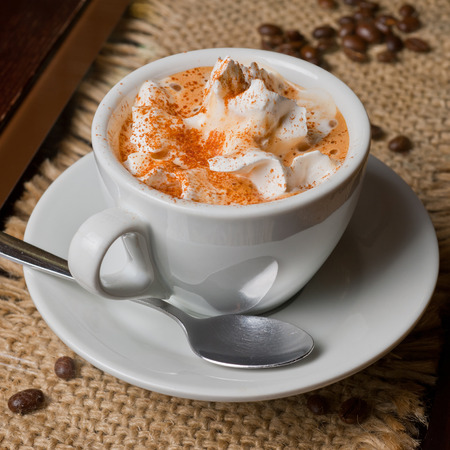 capuccino: Coffee capuccino cup with milk  Stock Photo