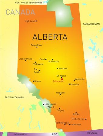 Alberta vector provincie kleur kaart Vector Illustratie