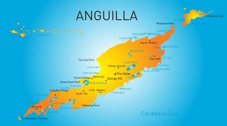 anguilla: Anguilla territory vector color map