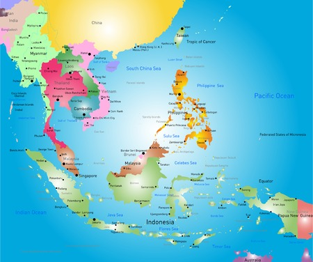 and in asia: Vector color southeast asia map