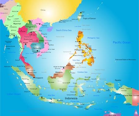 Vector kleur zuidoosten Azië kaart
