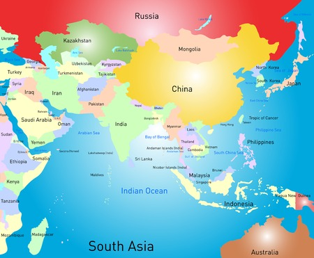 Vector color south asia map