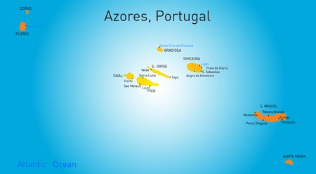 azores: Vector color map of Azores Illustration