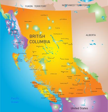 northwest: vector british columbia province map