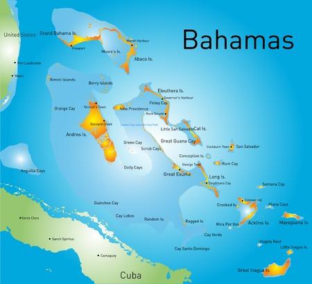atlantic city: Bahamas vector color map country