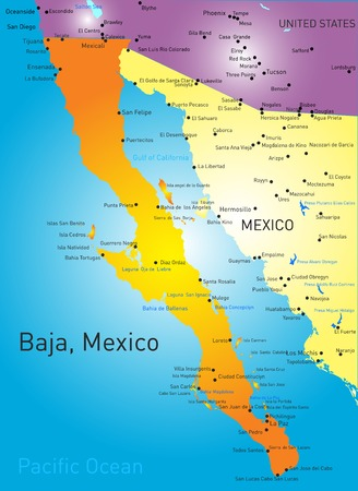 baja california vector color map