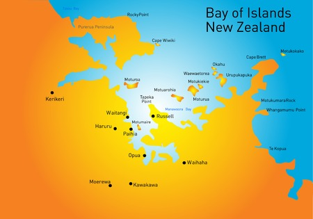 Bay of Island, New Zealand, vector color map Vector