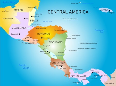 Vector carte Amérique centrale couleur Banque d'images - 30921479