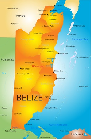 middlesex: Vector map of Belize with the capital and cities