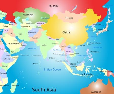 country: Vector kleur Zuid-Azië kaart Stock Illustratie