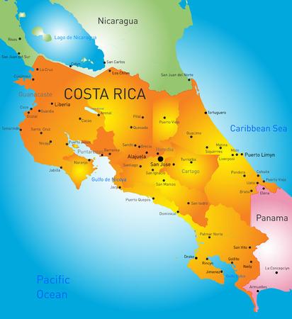rican: Vector de mapa de color de Costa Rica, pa�s