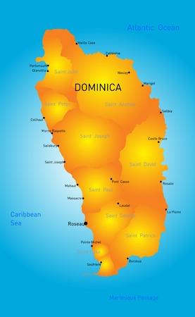 central park: Vector de mapa de color de Dominica pa�s