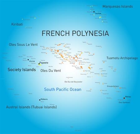 Vecteur couleur carte de la Polynésie française Vecteurs
