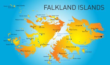 howard: Vector color map of Falkland islands  Illustration
