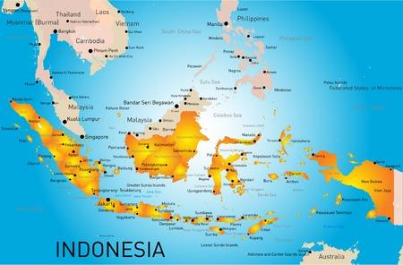 Indonesia country vector color map Banco de Imagens - 31049975