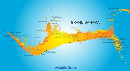 Gran Bahama vectores de color mapa