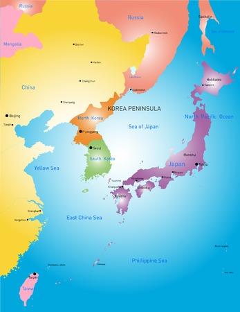 Korea peninsula vector color map Vector