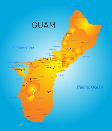 unincorporated: Guam country vector color map