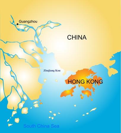Hong Kong vector color map   イラスト・ベクター素材