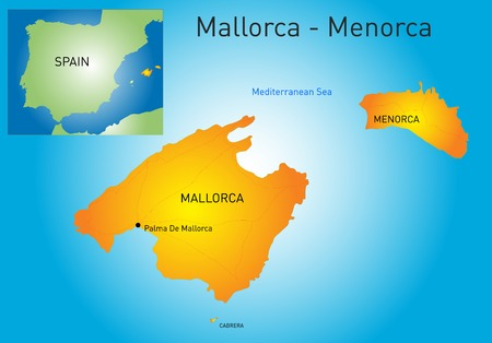 majorca: color map of Mallorca-Menorca, Spain