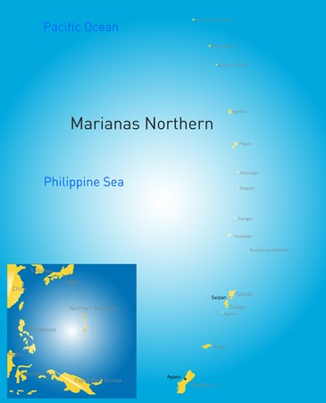 unincorporated: color northern mariana islands map  Illustration