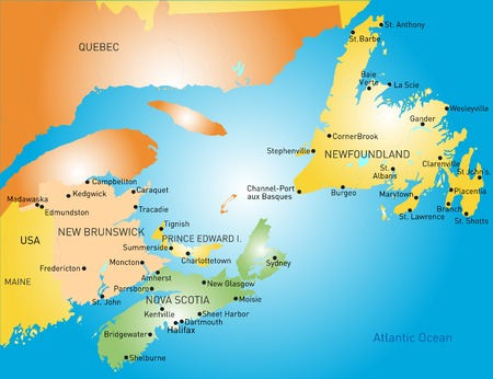 Maritime vector provinces color map Vector