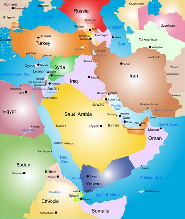 gulf: Middle-east color map Illustration