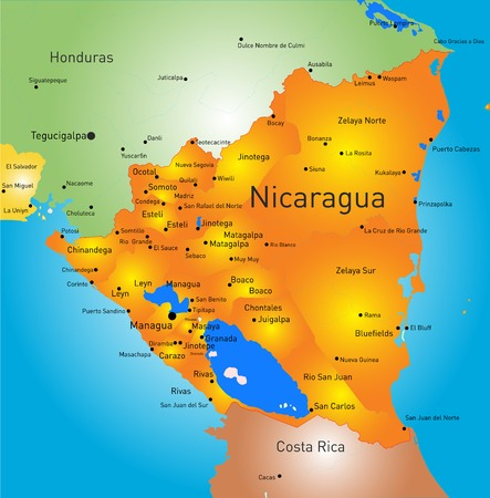 Vector Color Map Of Honduras Country Royalty Free Cliparts - Honduras country political map